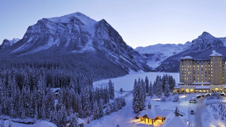 Lake Louise Jobs, Hotel Exterior in Winter