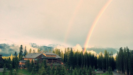 Lake Louise Jobs, Rainbow over Staff Residence